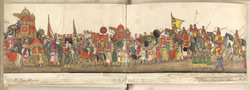 A panorama in 12 folds showing the procession of the Emperor Bahadur Shah to celebrate the feast of the 'Id. f. 59v-F